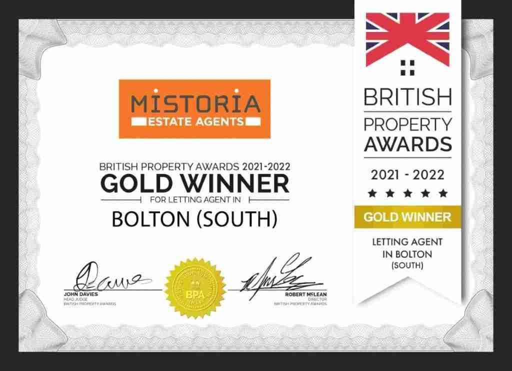 Mistoria Bolton British Property Awards Gold Winner 2021 LETTINGS Certif